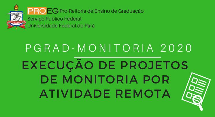 PGRAD MONITORIA 2020 - EXECUÇÃO DE PROJETOS DE MONITORIA POR ATIVIDADE REMOTA