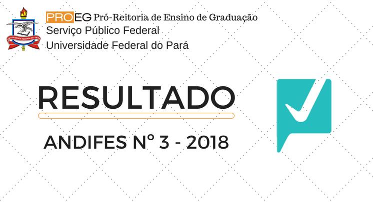 RESULTADO DOS ALUNOS CLASSIFICADOS EDITAL ANDIFES Nº 3 - 2018
